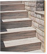 Pink Marble Staircase In Patmos Greece Wood Print