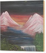 Pink Mountains Wood Print by Melanie Blankenship