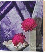 Pink Mums On Purple Wood Print