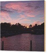 Pink N Blue Sunset On The Chesapeake Bay Va Wood Print