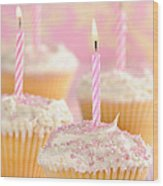 Pink Party Cupcakes Wood Print