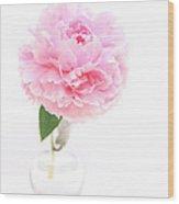 Pink Peony In Glass Vase Wood Print