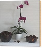 Pink Phalaenopsis Orchid And Sour Cherries Wood Print