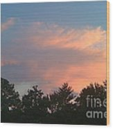 Pink Puffy Clouds Wood Print