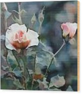 Pink Rose Bush Wood Print