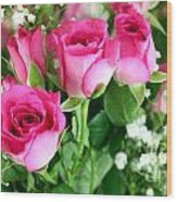 Pink Roses And Gypsophila Bouquet Wood Print