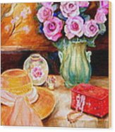 Pink Roses In A Green Vase With A String Of Pearls And A Pretty Summer Straw Hat  Wood Print