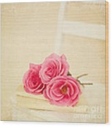 Pink Roses Laying On A Book Wood Print