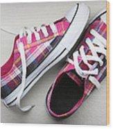 Pink Sneakers Wood Print