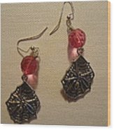 Pink Spider Earrings Wood Print
