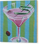 Pink Stripe Martini Wood Print