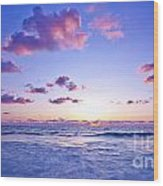 Pink Sunset On The Beach Wood Print