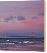 Pink Sunset Over Mackinac Michigan Wood Print
