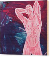 Pink Transgender Male Nude Figure On Blue Green Red Chaotic Background Of Transformation And Change Wood Print by MendyZ M Zimmerman