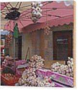 Pink Umbrella And Garlic Wood Print