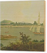 Pinnace Sailing Down The Ganges Past Monghyr Fort Wood Print