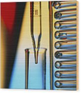 Pipette, Test Tube And Condenser Coil Wood Print
