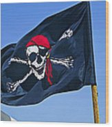 Pirate Flag Skull With Red Scarf Wood Print