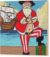 Pirate Santa Wood Print