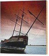 Pirate Ship 2 Wood Print by Cale Best