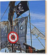 Pirate Ship With Target Wood Print by Garry Gay