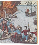 Pirates Burn Havana, 1555 Wood Print by Photo Researchers
