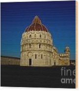 Pisa Tower And Baptistery Cathedral Wood Print