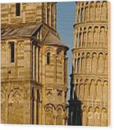 Pisa Tower And Cathedral Wood Print