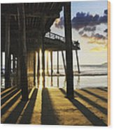 Pismo Pier Sunset II Wood Print