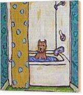 Pit Bull Terrier Taking A Bath Wood Print