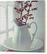 Pitcher With Red Berries  Wood Print
