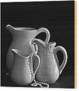 Pitchers By The Window In Black And White Wood Print