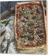 Pizza With Herbs Wood Print