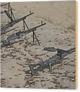 Pk Machine Guns And Spent Cartridges Wood Print