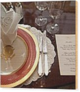 Place Setting Of The White House China Wood Print by Everett