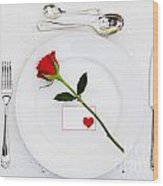 Place Setting With Red Rose Wood Print
