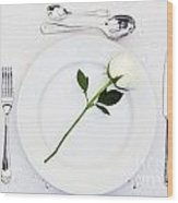 Place Setting With White Rose Wood Print