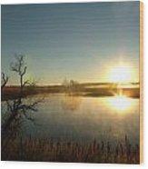 Placid Glass Lake At Dawn Wood Print by Brian  Maloney