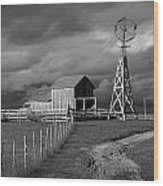 Plains Frontier Farm And Windmill At 1880's Town In South Dakota Wood Print