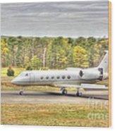Plane Landing Air Brakes Blur Background Wood Print