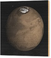 Planet Mars Slightly Tilted To Show Wood Print