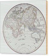 Planispheric Map Of The Eastern Hemisphere Wood Print