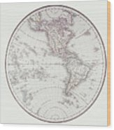 Planispheric Map Of The Western Hemisphere Wood Print