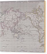Planispheric Map Of The World Wood Print by Fototeca Storica Nazionale