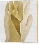Plastic Gloves Wood Print by Bernard Jaubert