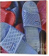 Plastic Slippers Chinatown Vancouver Wood Print