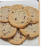 Plate Of Chocolate Chip Cookies Wood Print