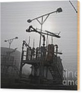 Platforms And Tanks At Petrocor In The Fog Wood Print