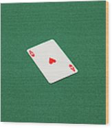 Playing Cards - Ace Of Hearts Wood Print