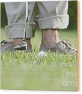 Playing Golf Wood Print